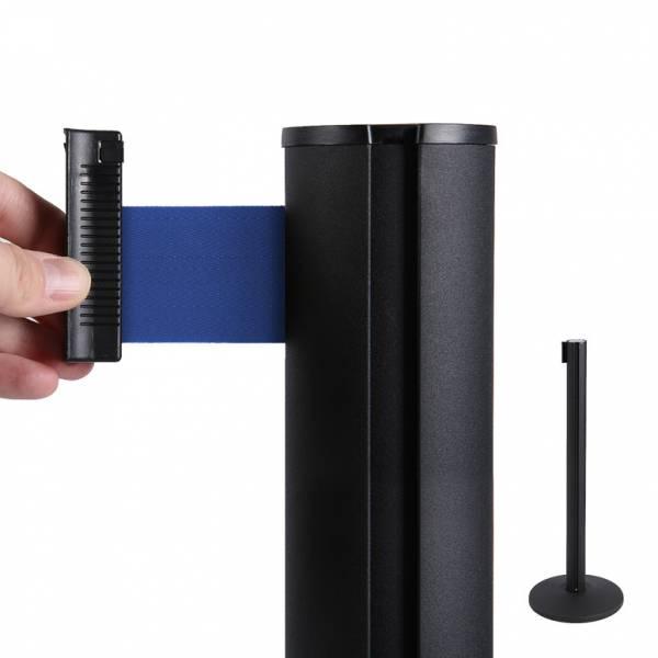 Fekete Kordon Oszlop 2m Kék szalaggal