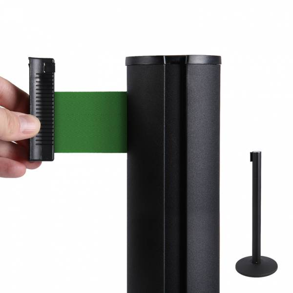 Fekete oszlop kordon 2m zöld szalaggal