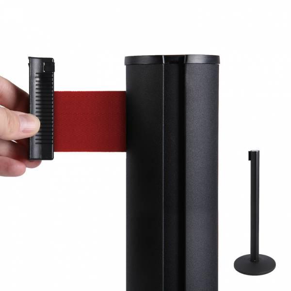 Fekete kordon oszlop 2m piros szalaggal