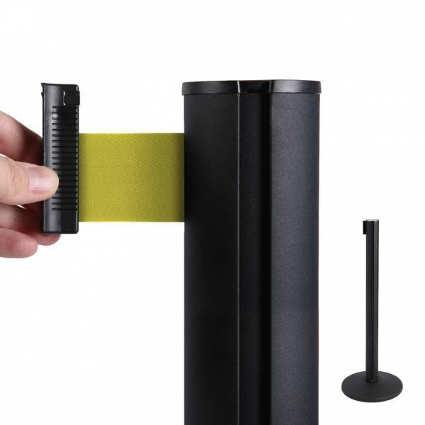 Fekete oszlop kordon 2m sárga szalaggal