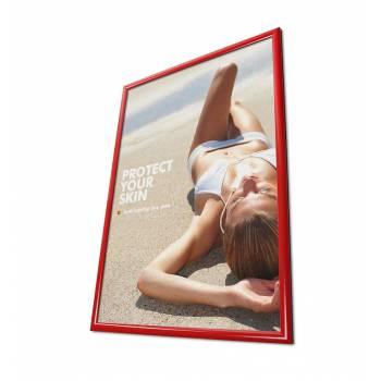 Plakátkeret 70x100, szögletes sarok, 25 mm piros