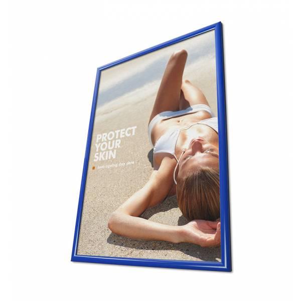 Plakátkeret 70x100, szögletes sarok, 25 mm kék