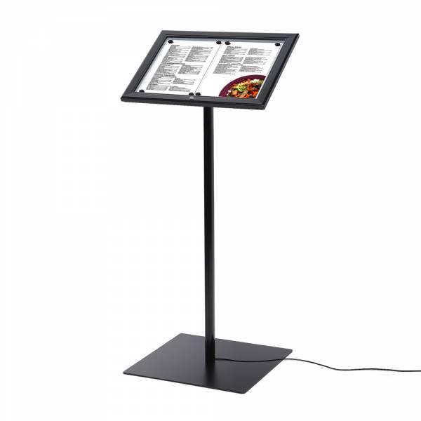Fekete Menütartó 2xA4 méretben, világító