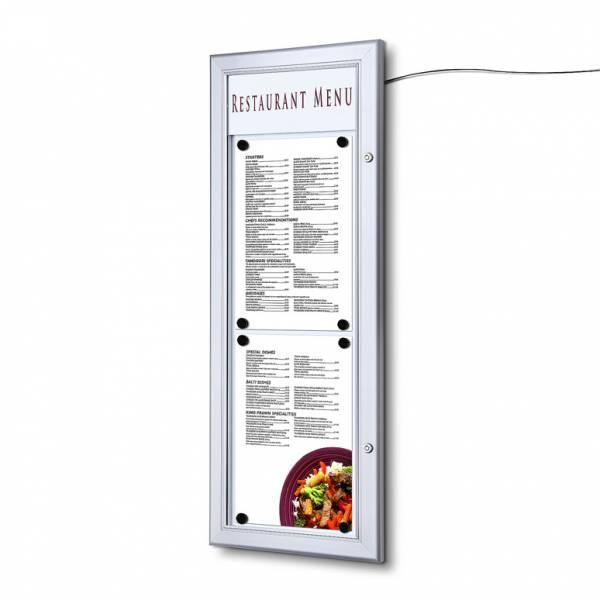 Kültéri LED menütartó vitrin 2xA4T