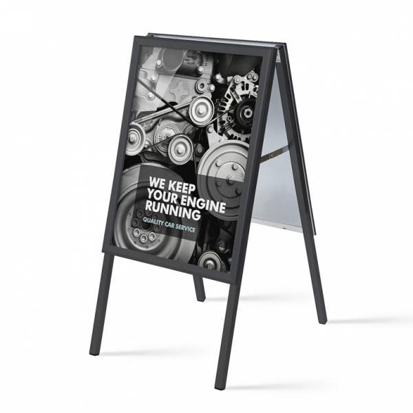 A alakú Megállítótábla, szögletes sarok, 20mm, 50x70, fekete